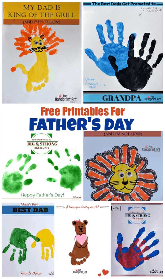 Cute Printable Father's Day Cards and Crafts for kids with sayings & puns about dads