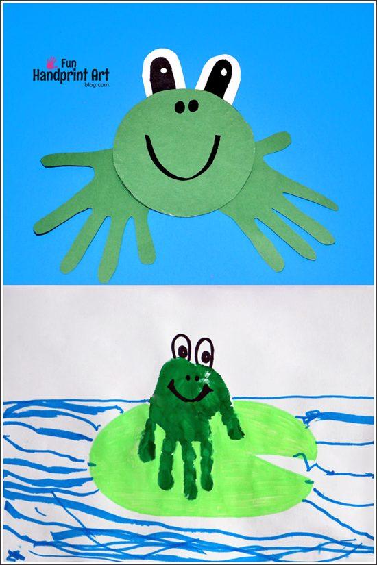 Handprint Frog Crafts for Kids