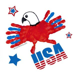 4th of July Craft for Kids: Red, White, & Blue Eagle Handprint Art