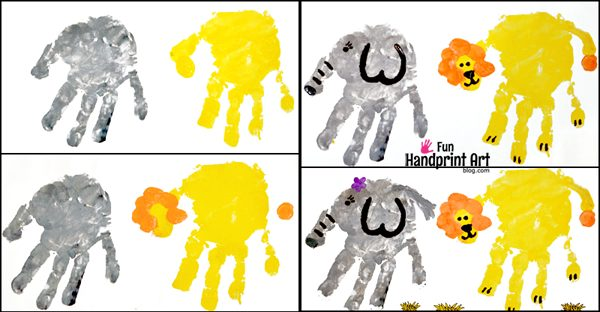 Handprint Zoo Animal Crafts: Lion & Elephant