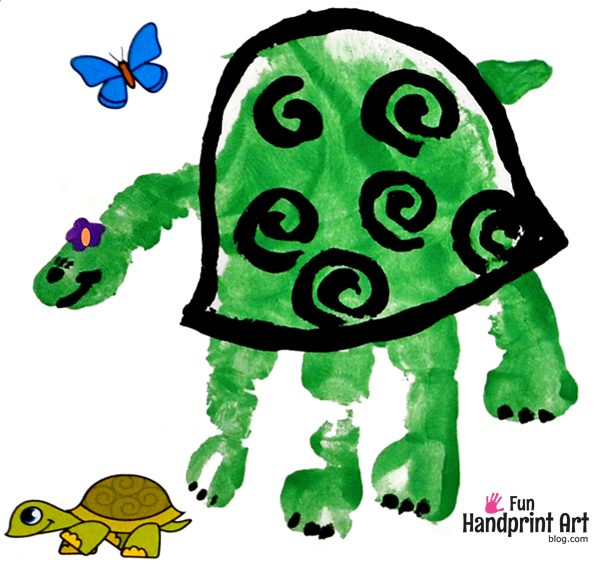 Turtle Handprint Kids Zoo Craft
