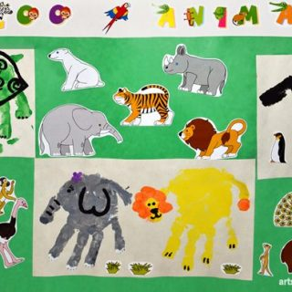 Zoo Animals made with handprints