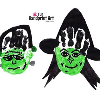 Halloween Handprint Crafts: Witch & Frankenstein