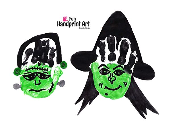 Halloween Handprint Crafts: Witch & Frankenstein