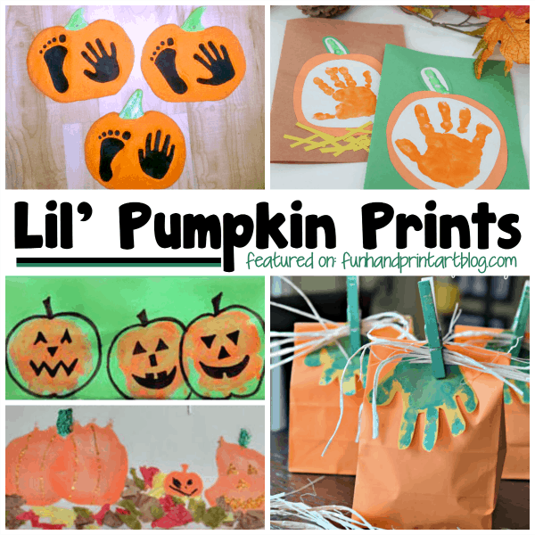 lil pumpkin print halloween handprint art - Preschool Halloween Art Projects