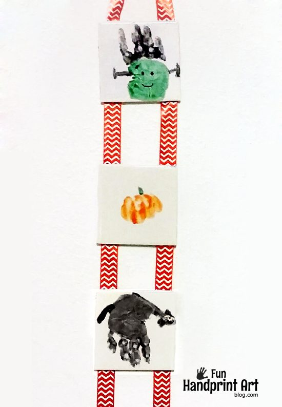 Spooky Halloween Handprint Tile Wall Hanging & tutorial