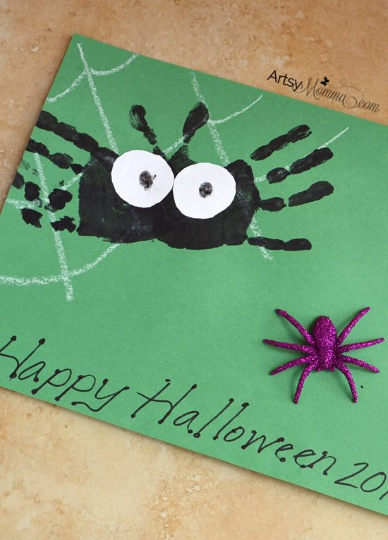 Not-so-scary Handprint Spider Craft for Preschoolers - Halloween Art Project