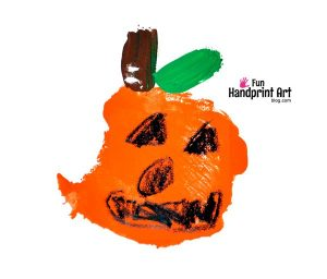 Palm Print Pumpkin - Kindergarten Halloween Craft