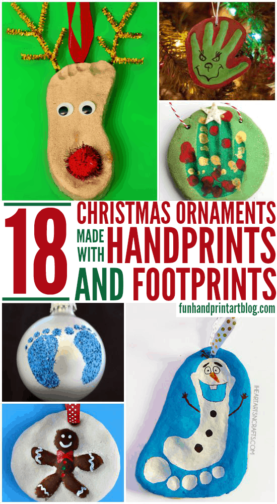 DIY Christmas Ornaments made with Handprint & Footprints