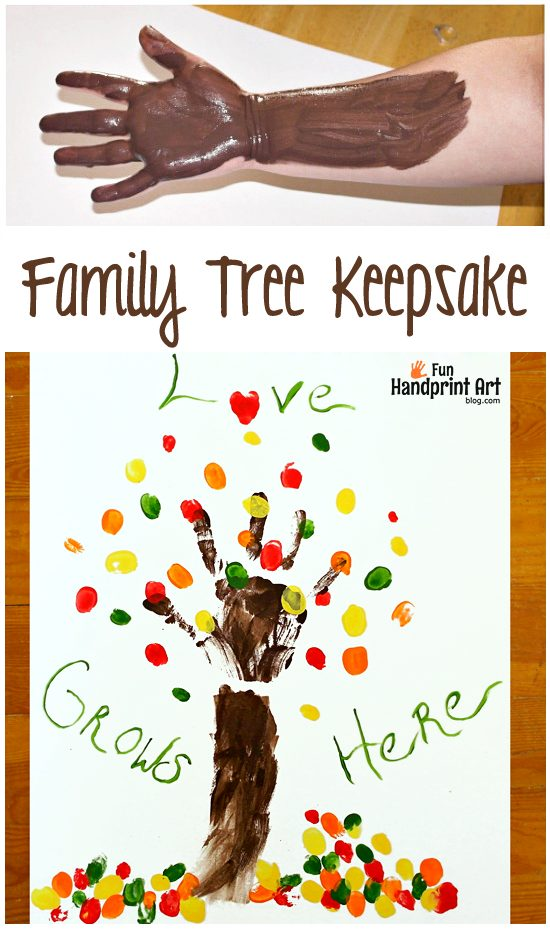 Family Fingerprint Tree Keepsake With Saying Love Grows Here