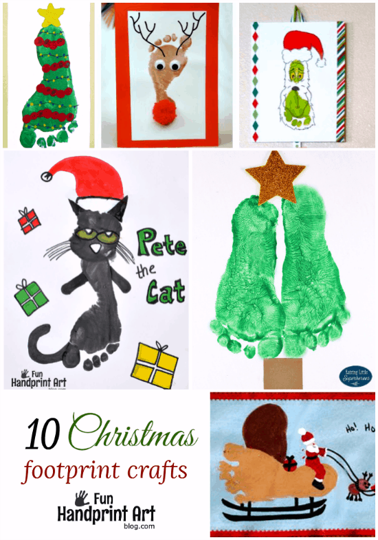 10 Creative Footprint Christmas Crafts for kids featured on funhandprintartblog.com