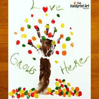 Love Grows Here – Family Fingerprint Tree Keepsake