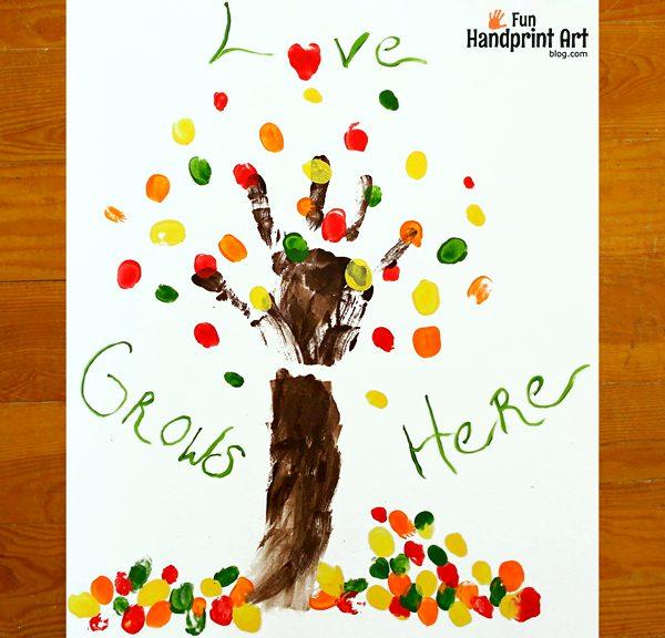 Love Grows Here Family Handprint Tree