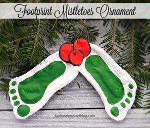 How to make Footprint Mistletoe Salt Dough Ornaments for Christmas Gifts