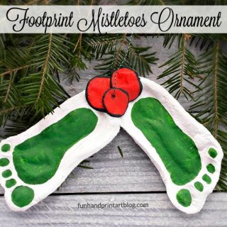 Darling Mistletoe Footprint Ornament made with Salt Dough