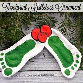 Darling Mistletoe Footprint Ornament made with Salt Dough