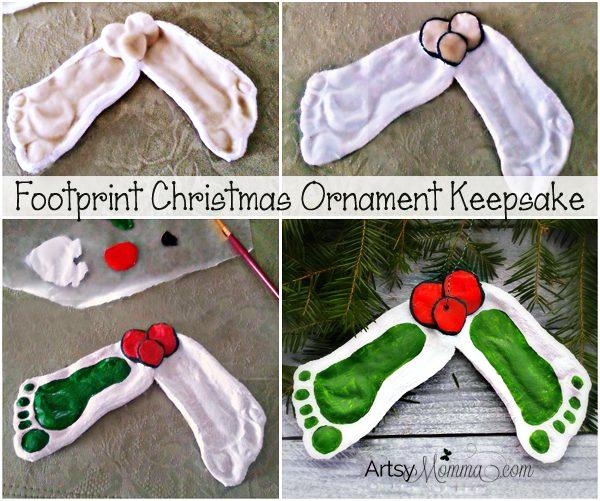 Tutorial for making Footprint Mistletoe Salt Dough Ornaments