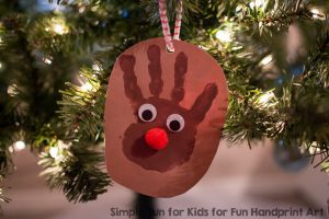 Simple Handprint Reindeer Ornament Keepsake
