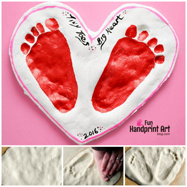 Valentine's Day Salt Dough Footprint Heart Keepsake