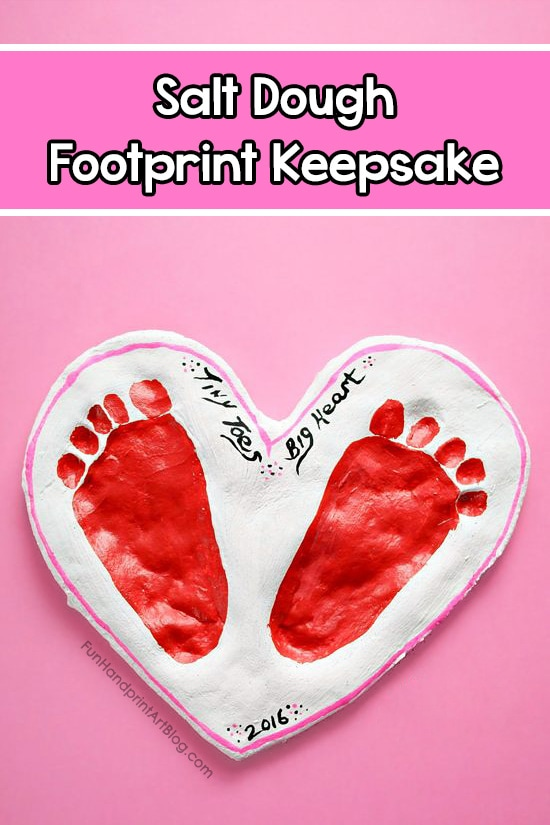 Footprint Heart Salt Dough Keepsake with Tiny Toes Big Heart Saying