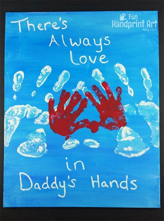 There's Always Love in Daddy's Hand | Father's Day Canvas Keepsake made with handprints