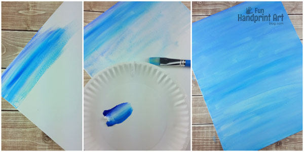 Super Cute Father's Day Canvas Tutorial - painting the blue background