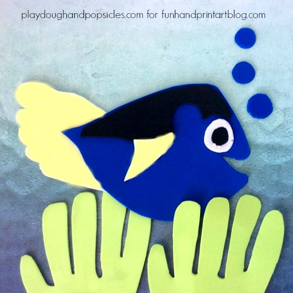 Finding Dory Foam Craft with Footprint Fin and Handprint Seaweed