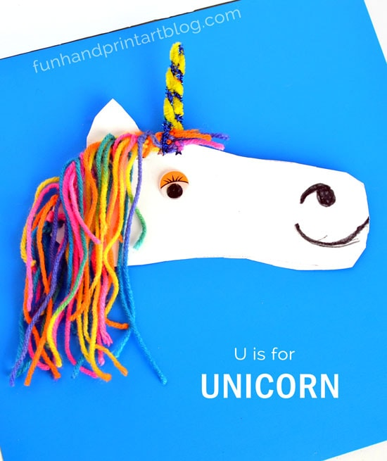 Shoe Shaped Unicorn Craft that works on Fine Motor Skills | U is for Unicorn