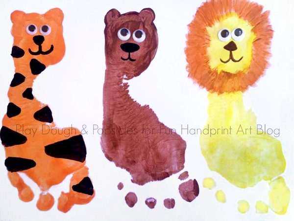 Footprint Animals: Lions, Tigers, and Bears...oh my!