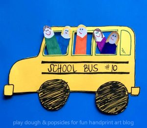 Kids On The Bus: A Finger Cut Out Craft - Back To School Craft For Kids