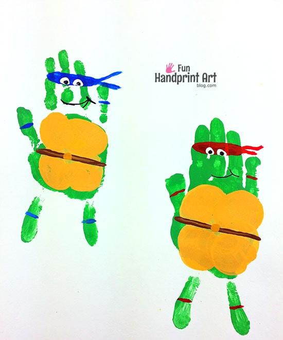 Handprint teenage mutant ninja turtles fun handprint art for Turtle arts and crafts