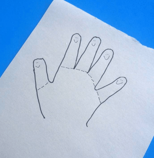 Traced hand for making Finger Cut Out Kids. We paired this craft with our favorite books for back to school fun!