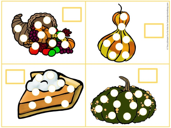Learn to count up to 15 with these printable fall food counting cards! Cute theme for toddlers and preschoolers, perfect for Thanksgiving and all fall long!