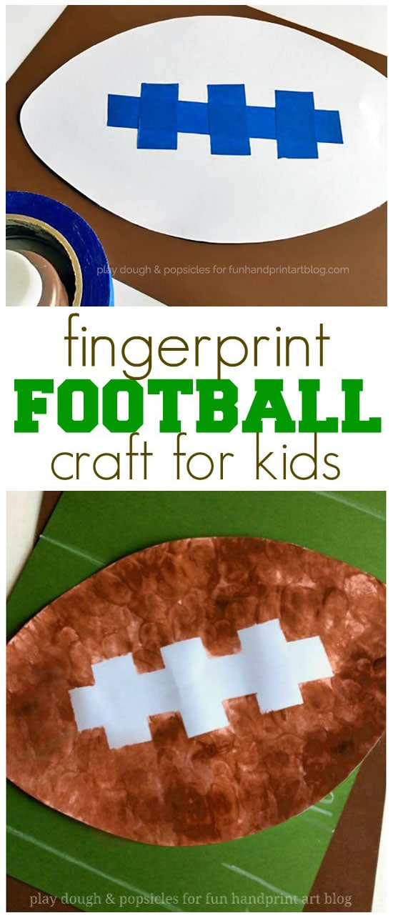 Tape Resist Fingerprint Football Craft | Superbowl Kids Activity