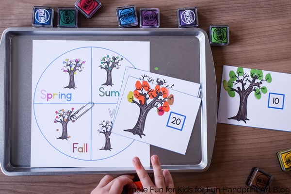Explore the Seasons with a Fingerprint Leaves Counting Game - Preschool Math
