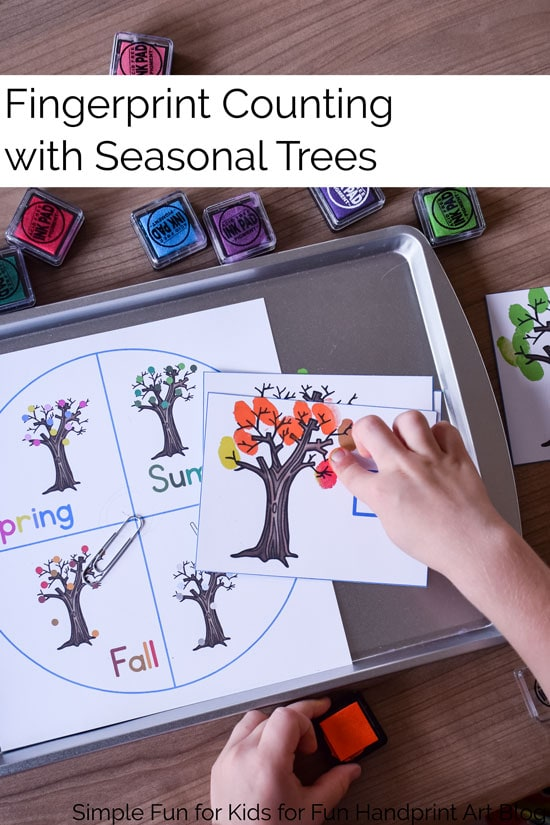 Practice counting up to 20 with a fun sensory approach that turns it into a game: Fingerprint Counting with Seasonal Trees, perfect for toddlers and preschoolers!