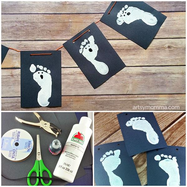 Kids can help make this Footprint Ghost Banner for Halloween!