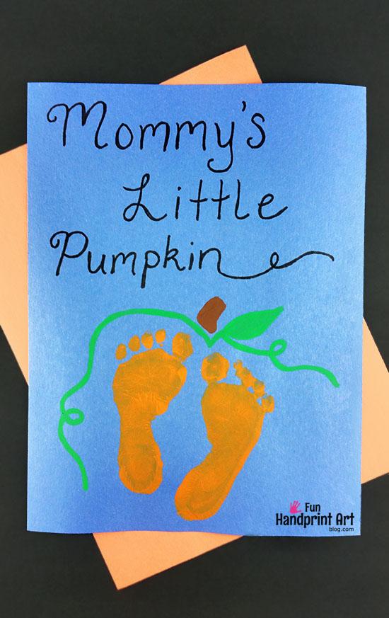 Footprint Pumpkin Halloween Keepsake - Mommy's Little Pumpkin