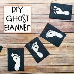 Spooky Cute Ghost Banner made with Footprints