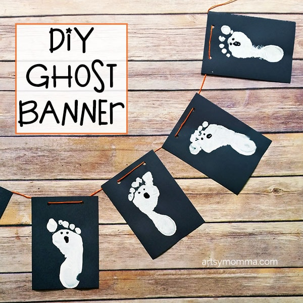 Spooky Cute DIY Ghost Banner for Halloween with Ghost Footprints