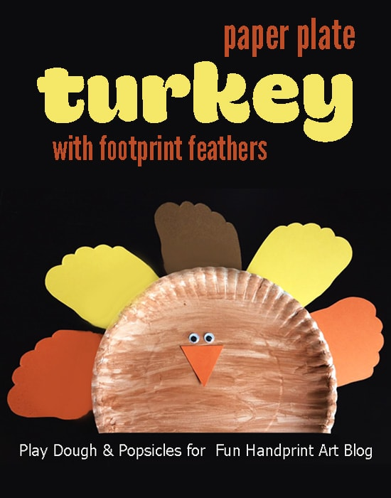 A Fun Thanksgiving Paper Plate Turkey with Footprint Feathers Craft Idea