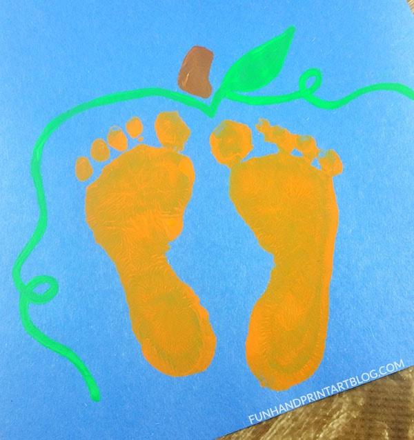 Baby Pumpkin Footprint Art