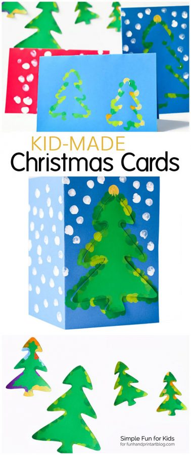 Kid-made Christmas Cards - Christmas Tree Fingerprint Art
