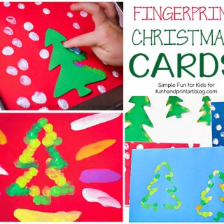 Fingerprint Christmas Tree Cards 3 Ways (+ free tree templates!)