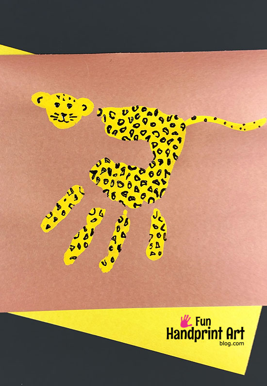Super Cute Cheetah Handprint Art Keepsake - Safari Theme for Kids
