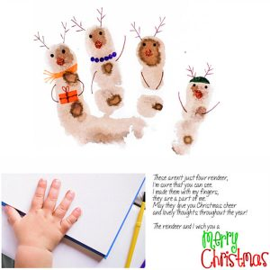 Kid-made Reindeer Christmas Cards & Printable Reindeer Poem