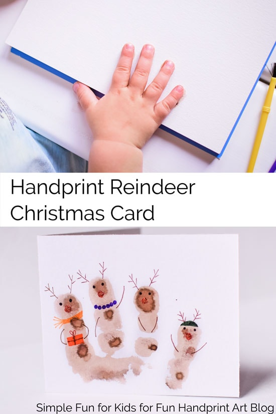 Simple cute Kid-Made Reindeer Christmas Card craft for  kids, toddler on up! Includes a cute little printable poem you can put in the card.