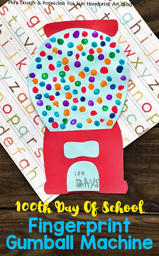 Colorful Fingerprint Painted Gumball Machine Craft For 100th Day Of School