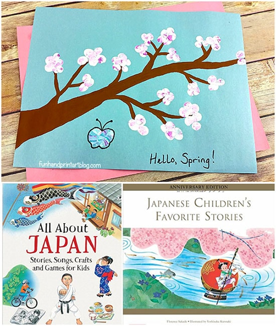 Books About Cherry Blossoms & Japan + a Pretty FIngerprint Blossoms on a Branch Craft Idea for Kids