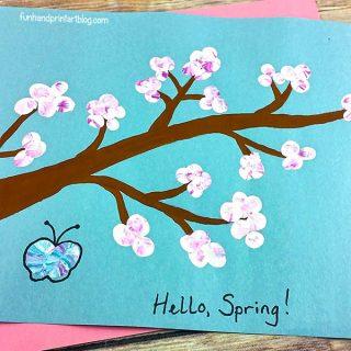 Cherry Blossom Branch Craft for Kids Using Fingerprints